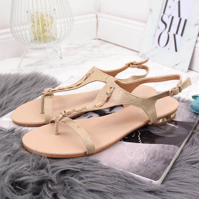 Sandały damskie japonki z ozdobą złote Vinceza