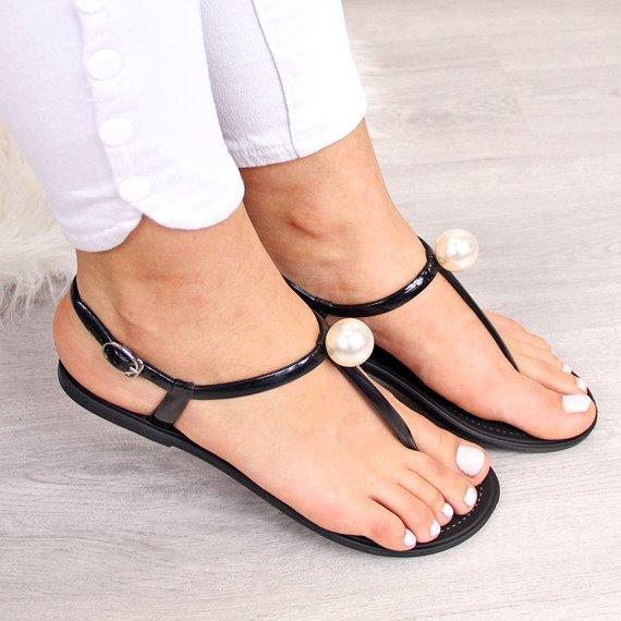 Sandały damskie japonki z perłą czarne Lu Boo