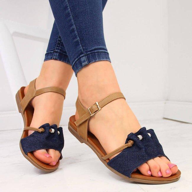 Sandały damskie jeansowe granatowe Jezzi