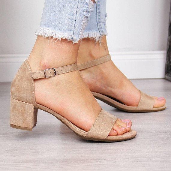 Sandały damskie na klocku beżowe Filippo