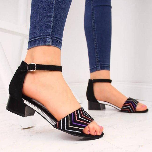 Sandały damskie na klocku czarne Jezzi