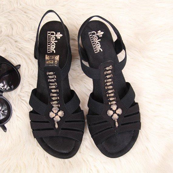 Sandały damskie na klocku czarne Rieker V6206