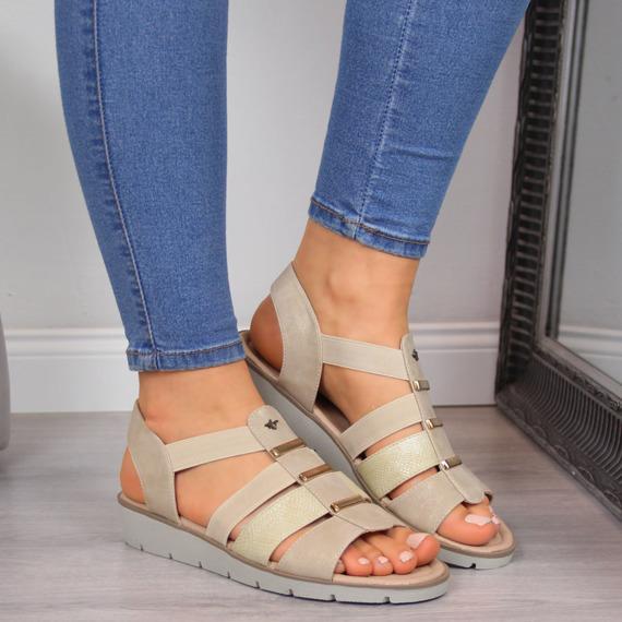 Sandały damskie na koturnie beżowe Aloeloe
