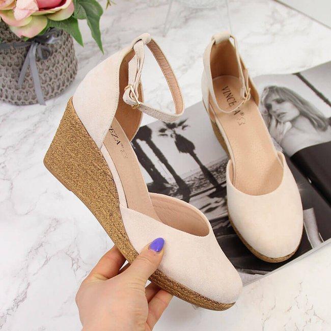 Sandały damskie na koturnie beżowe Vinceza