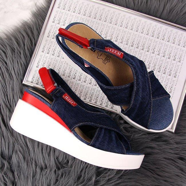 Sandały damskie na koturnie jeansowe niebieskie Jezzi