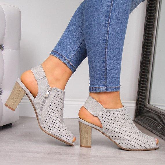 Sandały damskie na słupku ażurowe szare Jezzi