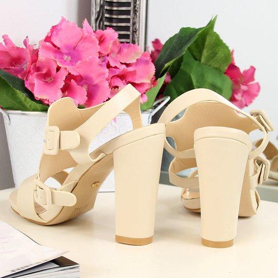 Sandały damskie na słupku beżowe Ideal Shoes