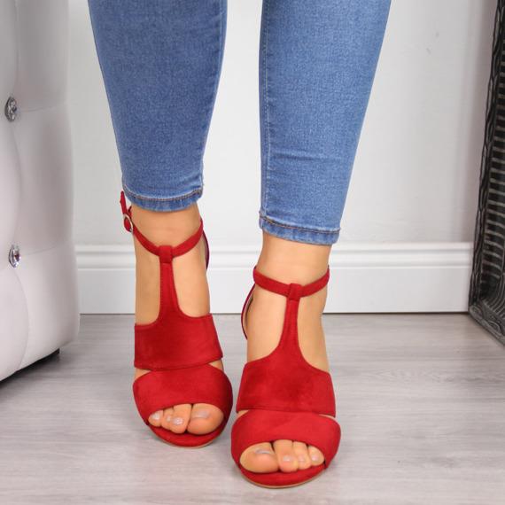 Sandały damskie na słupku czerwone Vinceza