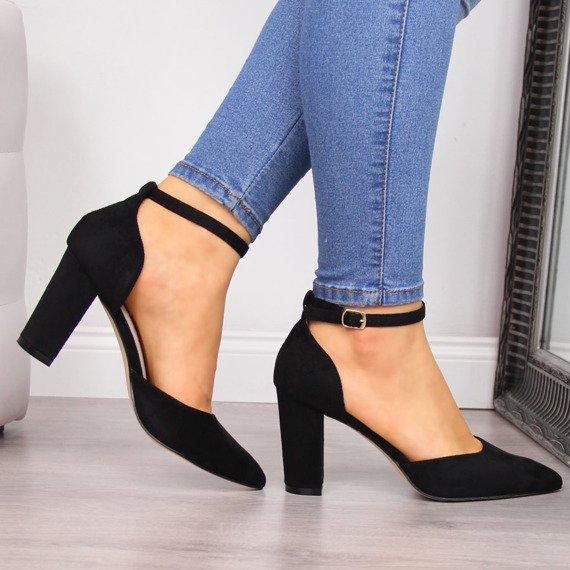 Sandały damskie na słupku szpic czarne Sabatina