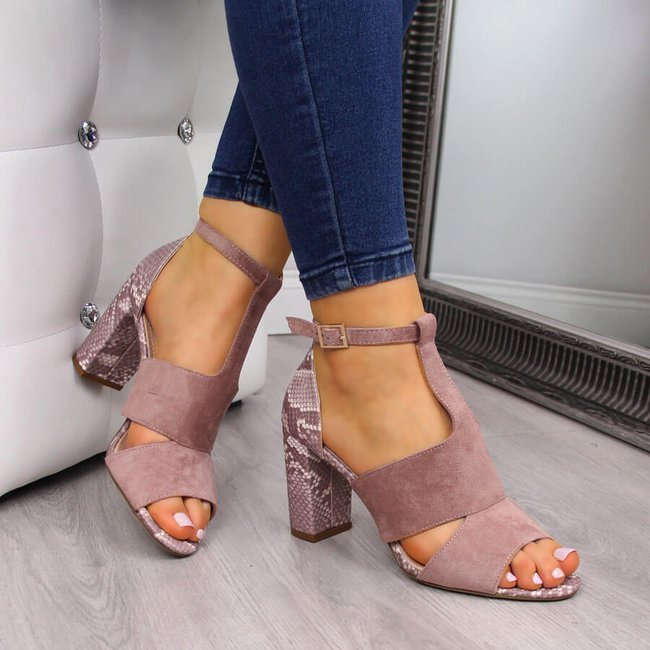 Sandały damskie na słupku wężowe pudrowy róż Sergio Leone