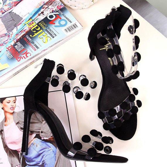 Sandały damskie na szpilce czarne Sergio Todzi
