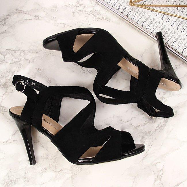 Sandały damskie rzymianki na szpilce czarne Sergio Leone