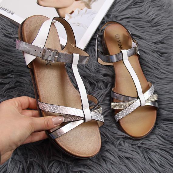 Sandały damskie rzymianki srebrne Vinceza