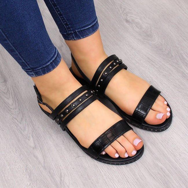 Sandały damskie rzymianki z nitami czarne Filippo