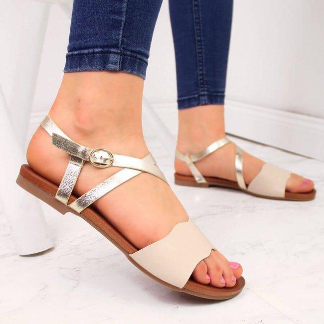Sandały damskie rzymianki z paskami beżowe S.Barski