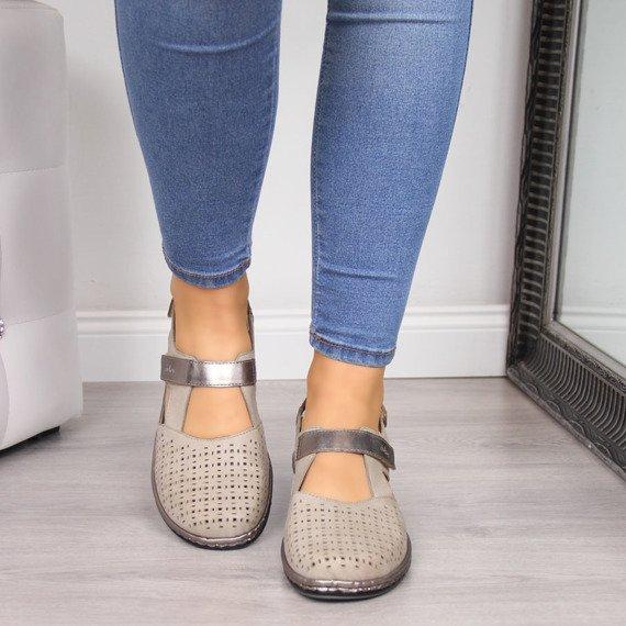 Sandały damskie skórzane ażurowe Rieker 47775