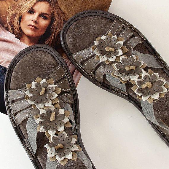 Sandały damskie skórzane brązowe Rieker 60858-64
