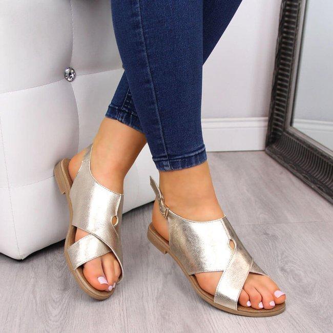 Sandały damskie skórzane metaliczne złote Juma 2650