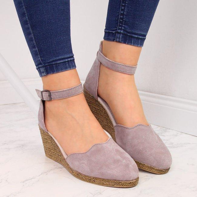 Sandały damskie skórzane na koturnie brudny róż Filippo