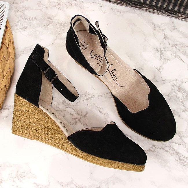 Sandały damskie skórzane na koturnie czarne Filippo