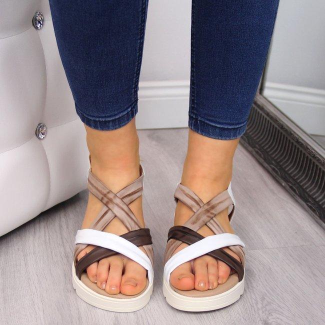 Sandały damskie skórzane na platformie brązowe El Pimpi