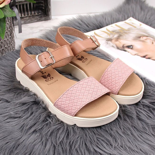 Sandały damskie skórzane na platformie różowe El Pimpi