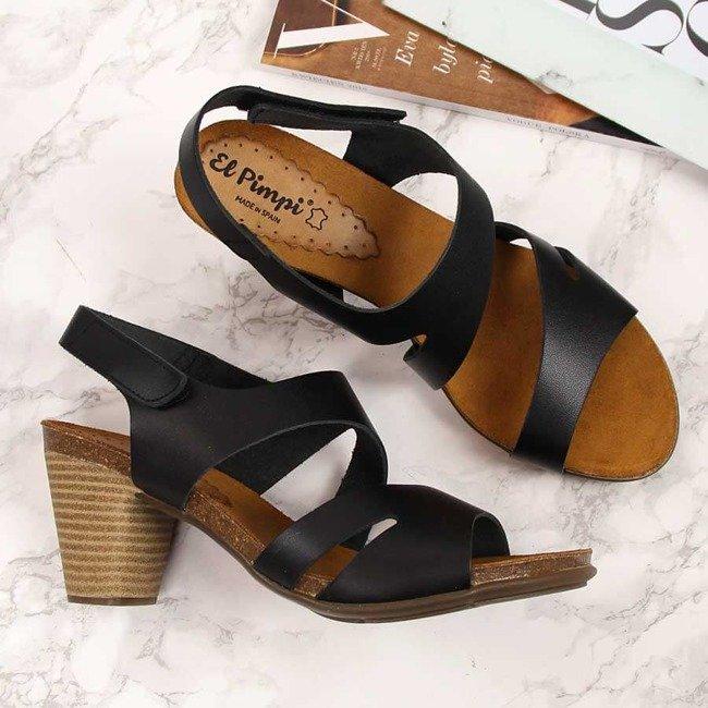 Sandały damskie skórzane na słupku czarne  El Pimpi