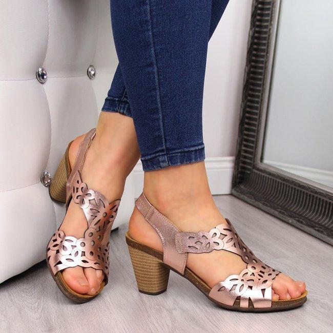 Sandały damskie skórzane na słupku różowe złoto El Pimpi