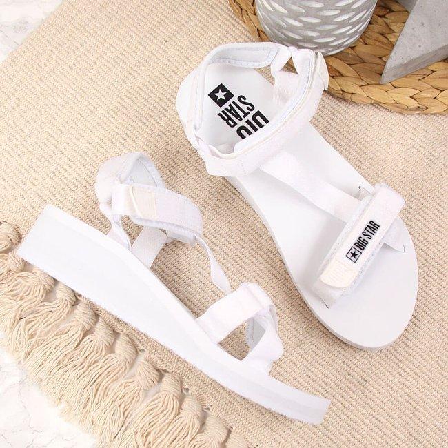Sandały damskie sportowe koturn białe Big Star FF274A351