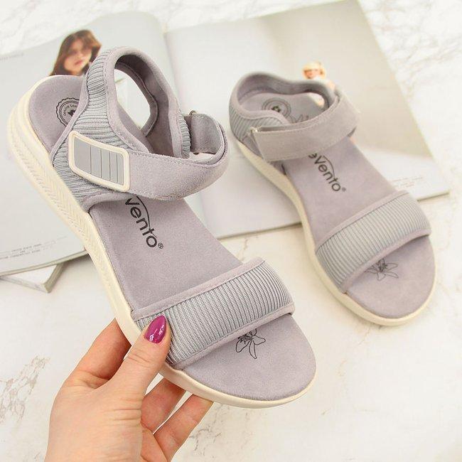 Sandały damskie sportowe na rzep szare eVento