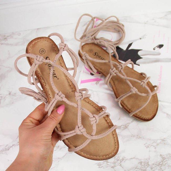 Sandały damskie sznurowane rzymianki beżowe Seastar