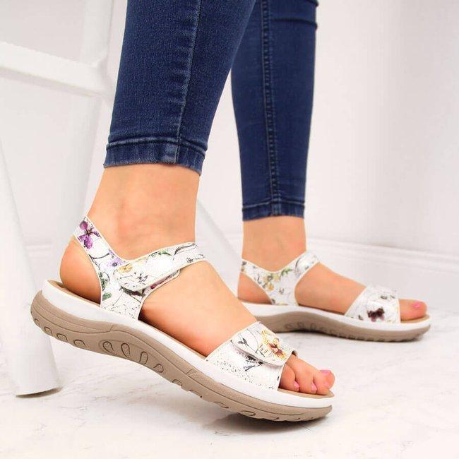 Sandały damskie w kwiaty na rzepy białe Rieker V8850