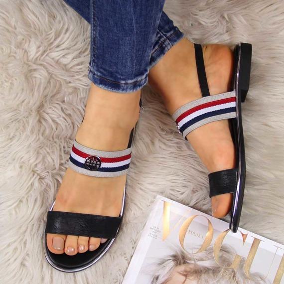 Sandały damskie w paski czarne Jezzi