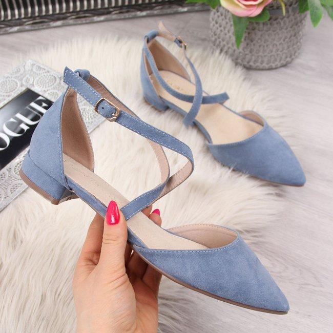 Sandały damskie w szpic zamszowe niebieskie Sabatina