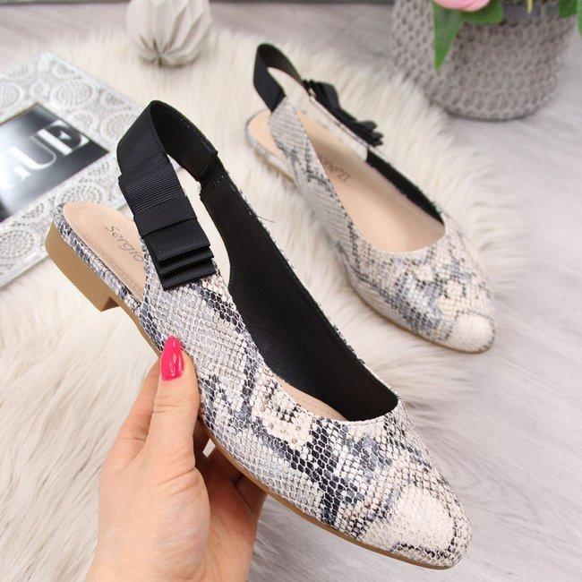 Sandały damskie wężowe z kokardką Sergio Leone