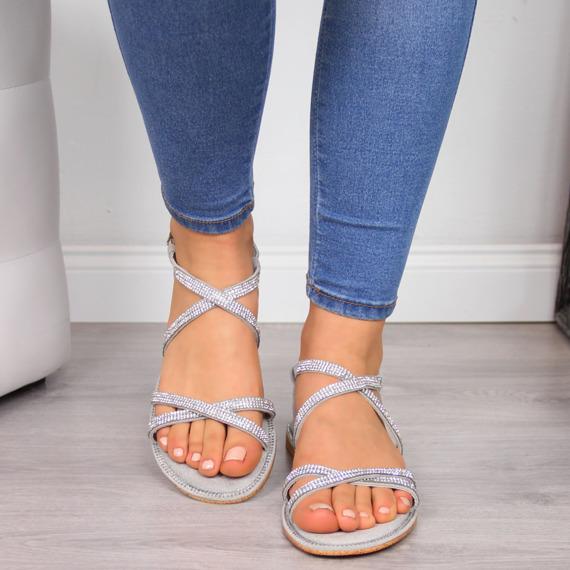 Sandały damskie z cekinami szare Xti