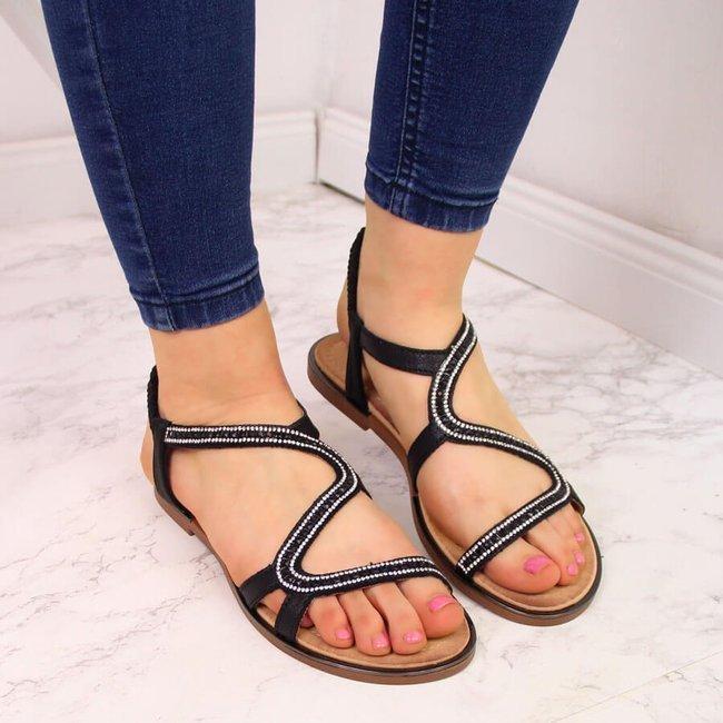 Sandały damskie z cyrkoniami na gumę czarne S.Barski
