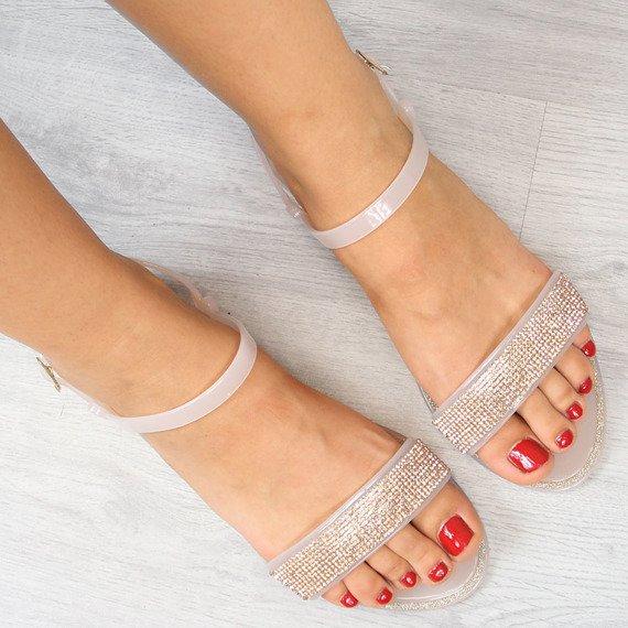 Sandały damskie z cyrkoniami szampańskie Lu Boo