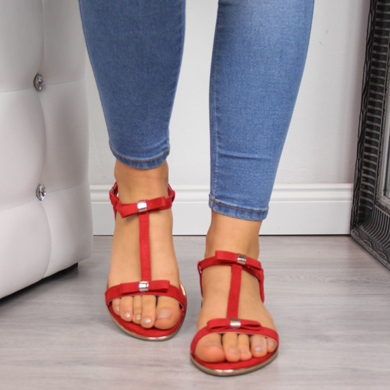 Sandały damskie z kokardką czerwone Vinceza