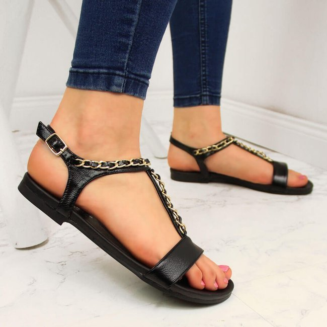 Sandały damskie z łańcuszkami czarne S.Barski