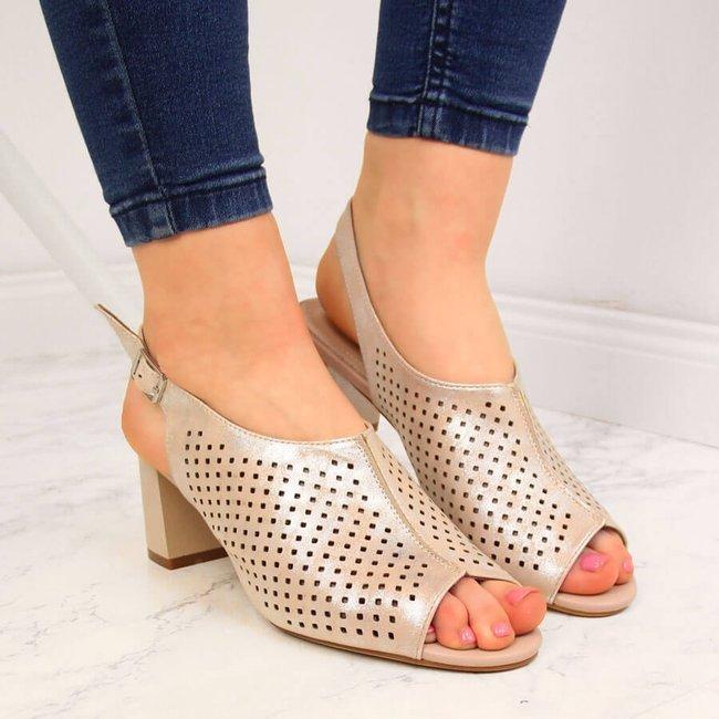 Sandały damskie zabudowane z połyskiem beżowe Sergio Leone