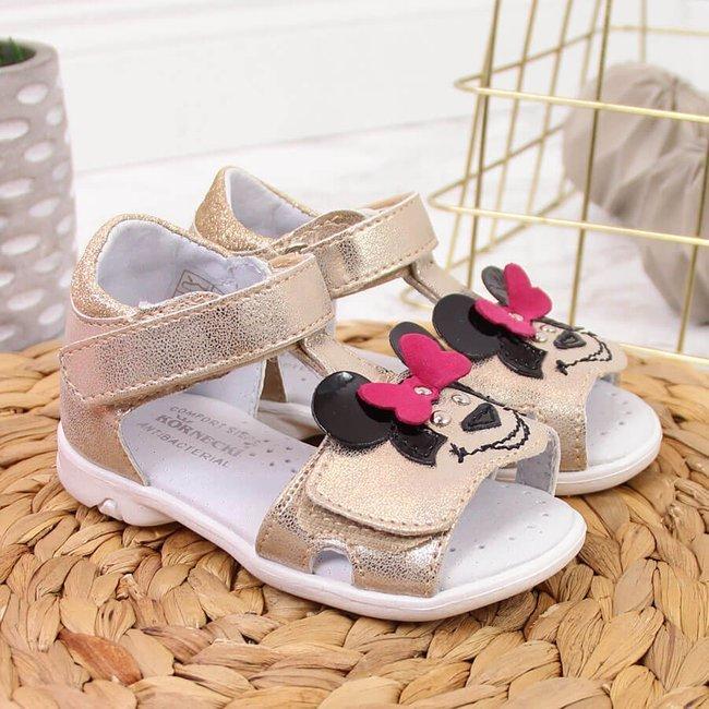 Sandały dziewczęce na rzep złote Kornecki 6684