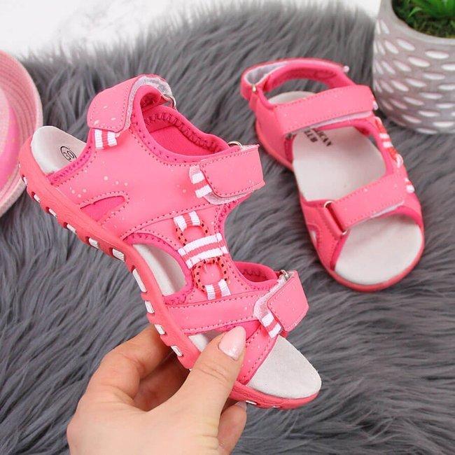 Sandały dziewczęce na rzepy różowe American Club
