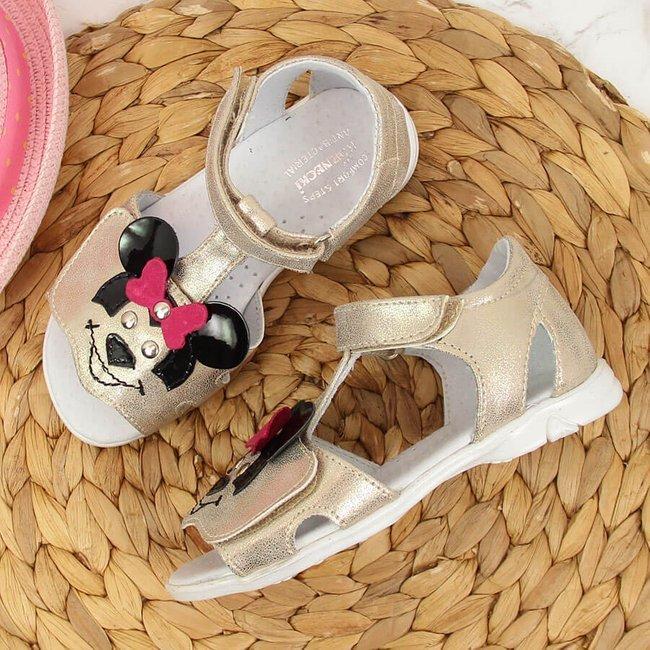 Sandały dziewczęce na rzepy złote Kornecki 6700