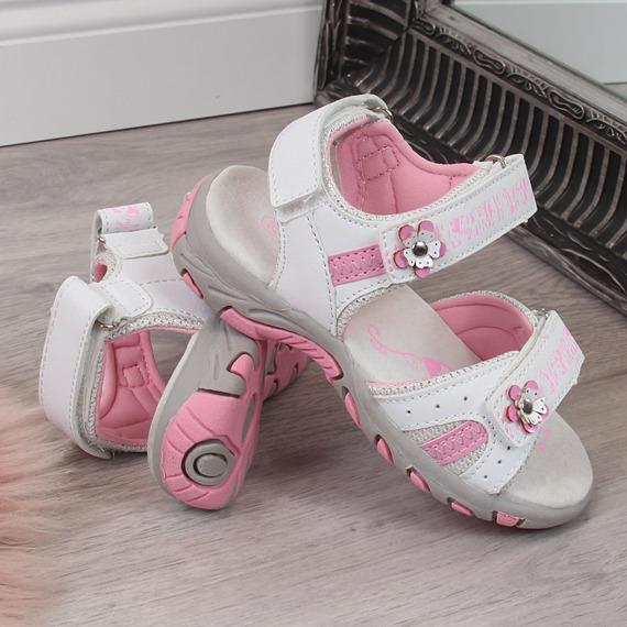 Sandały dziewczęce sportowe na rzep białe American Club