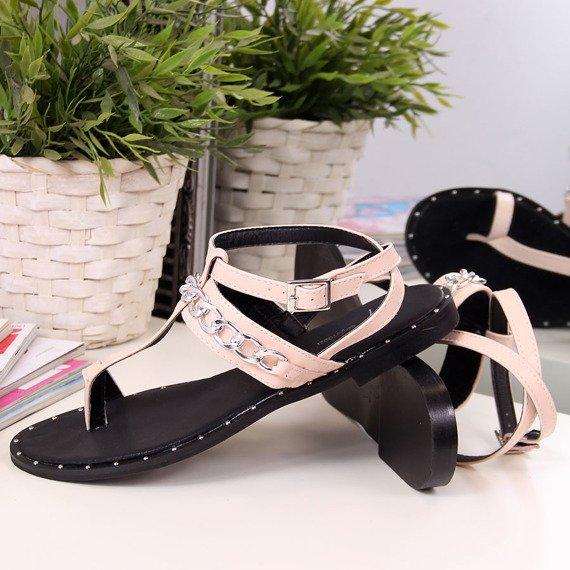 Sandały japonki z łańcuszkiem różowe Sergio Todzi