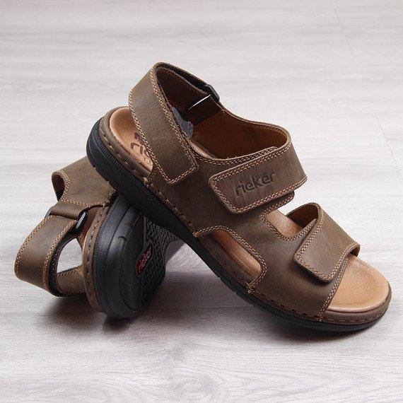 Sandały męskie skórzane brązowe Rieker 25558-25