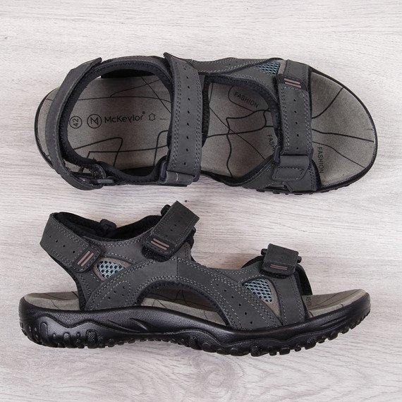 Sandały męskie skórzane szare McKeylor
