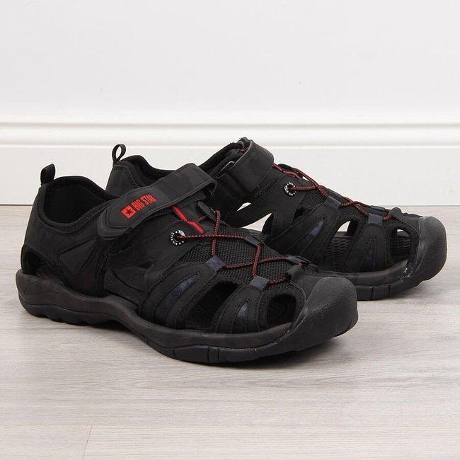 Sandały męskie zabudowane na rzep czarne Big Star HH174317
