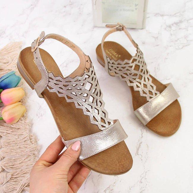 Sandały skórzane damskie ażurowe złote Juma
